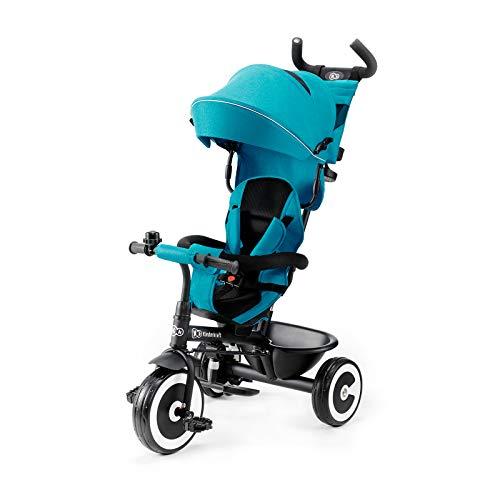 Kinderkraft Triciclo Aston Bicicletta Passeggino per Bambini con Maniglione Spinta Capottina Accessori per Bambino Dalla 9 Mesi fino 5 Anni Turchino