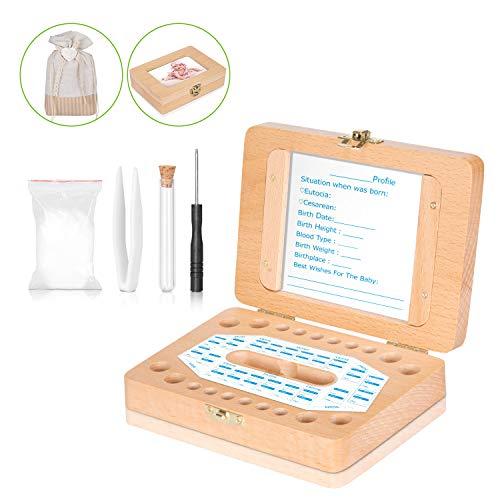 Baby-Zahn-Box - Uiter Handgemachtes Rechteckiges Milchzahn-Aufbewahrungs-Kästchen aus Holz für Kinder-Zähne Haltbarer Sicherer Organizer(Zubehör Gratis)