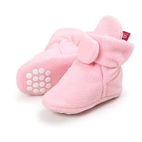 Lacofia Scarpe antiscivolo con suola morbida per neonato o per bambina stivali da bambino d'inverno rosa 3-6 mesi