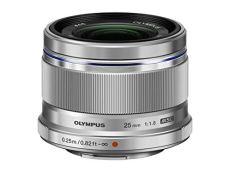 Olympus M.Zuiko Digital - Objetivo para Micro Cuatro tercios (Distancia Focal 25 mm, Apertura f:1.8, diámetro de 46 mm) Color Plata