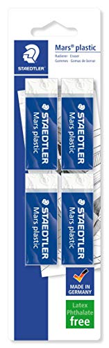STAEDTLER confezione da 4 gomme per cancellare Mars Plastic, colore bianco, senza ftalati né...