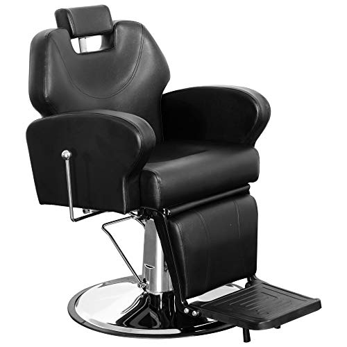 BarberPub Poltrona da Barbiere Regolabile Girevole Reclinabile Idraulica Sedia Parrucchiere Salone di Bellezza Tatuaggio Nero 8907BK