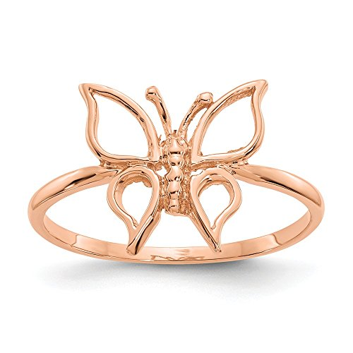 14K oro rosa pulido Anillo de mariposa