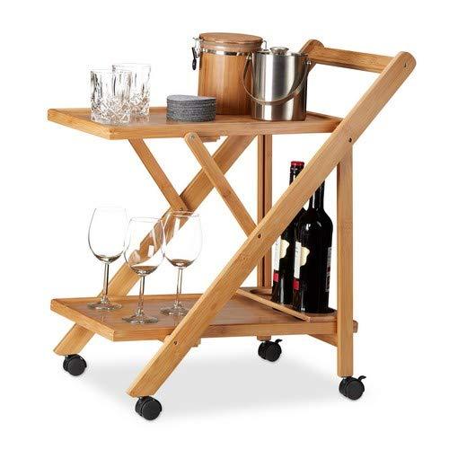 Relaxdays Küchenwagen Bambus, Servierwagen klappbar mit Flaschenhalter, Rollwagen Holz, HxBxT: 70 x 40,5 x 65 cm, natur