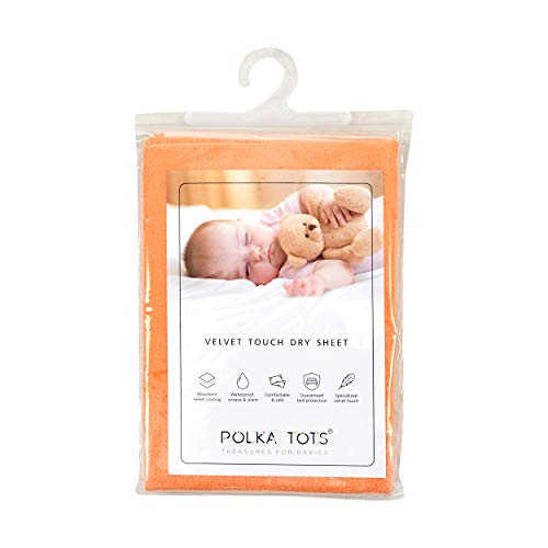Polka Tots Presents New Born Baby Mat Bed Protector Waterproof Sheet Reusable Absorbent Dry Sheet (Peach,Large)