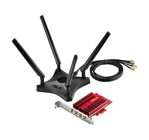 ASUS PCE-AC88 Adattatore PCI-E Wireless Dual-Band AC3100, Tecnologia NitroQAM 4X4, 4 Antenne ad Alto...