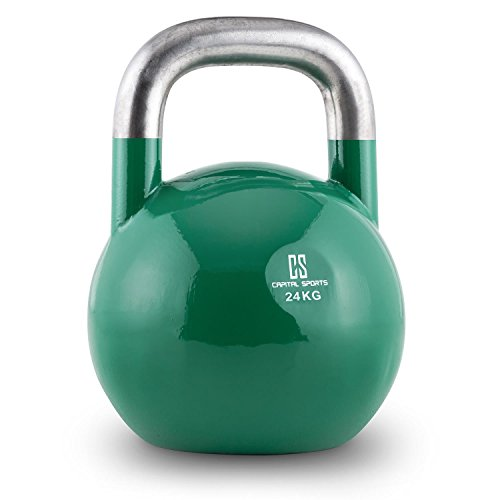 Capital Sports Compket Competition Kettlebell Peso Sfera in Acciaio (Verde, 24 kg)
