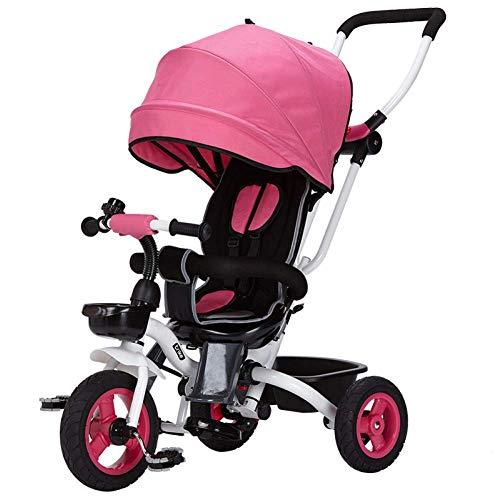 Children's Fun / 4 in1 Bambini Bambini Triciclo 3 ruote bici Passeggino, pieghevole corpo, wiRemovable spinta Handle Bar e tenda da sole, ruota in gomma (non gonfiato), sedile girevole, 1-3years vecch