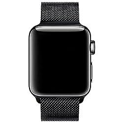 Kaufen VIKATech Für Apple Watch Armband 42mm, Milanese Schlaufe Edelstahl Smart Watch Armbänder mit Einzigartiger Magnetverriegelung Ohne Schnalle für Apple Watch Armband 42mm Series 3/2 / 1, Schwarz