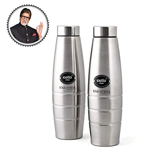 Cello Fino Stainless Steel Bottle Set, 1 Liter, Set of 2, Silver