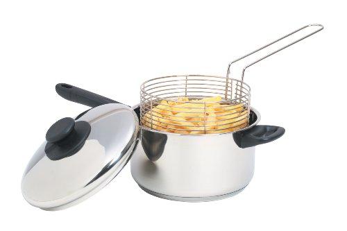 Kitchen Craft, Pentola per friggere con cestello, in acciaio Inox, 20 cm, Argento (silber)