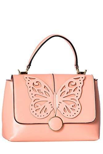 Banned Apparel Papilio Vintage Retro Mariposa Floral Bolso De Cuero De Imitación - Rosa