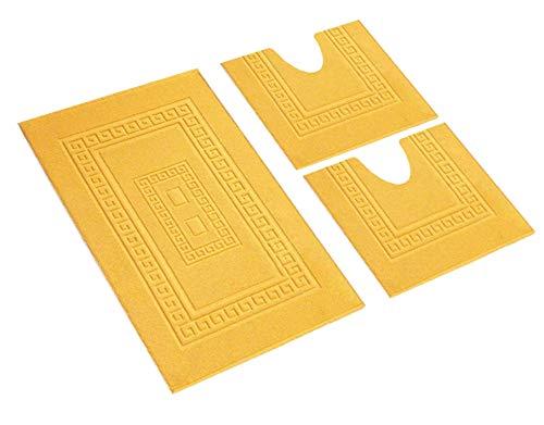 HomeIt - Set Tappeti Bagno 3 Pezzi in Cotone - Elegante Parure tappetini in Spugna: 1 Tappeto 60X90...