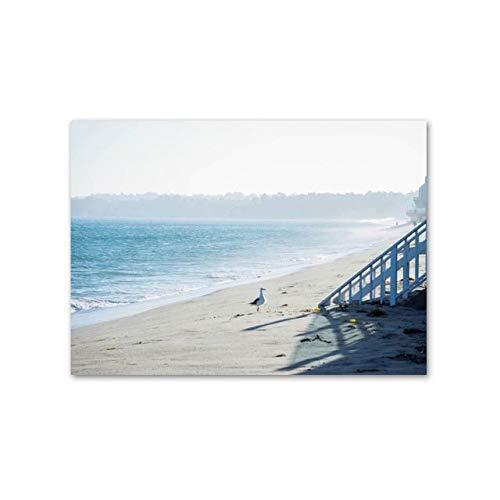 XWArtpic Paisaje nórdico del mar Azul del Atardecer Pinturas de Lienzo Decoración del hogar Cuadros de Arte de Pared para Sala de Estar Carteles e Impresiones del Paisaje Marino 90 * 120 cm