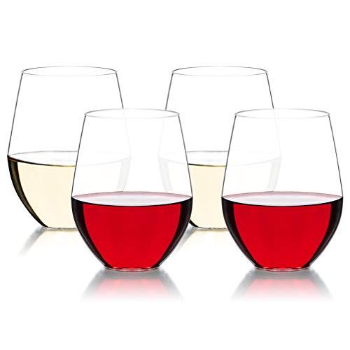 MICHLEY Bicchieri da Vino Senza Stelo 470 ml Set da 4 Tritan-plastica infrangibile Bicchieri di Vino Rosso Lavabile in lavastoviglie
