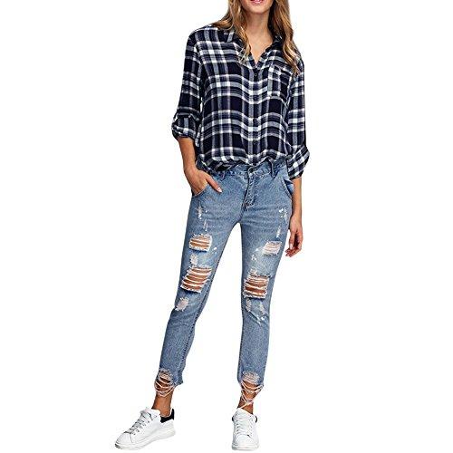 Juleya Damen Jeans Basic Skinny High Waist Boyfriend Jeans Hose Ripped...