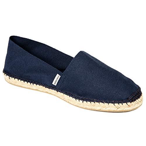 weltenmann Herren Slip-on Espadrilles aus Baumwolle mit Schuhbeutel, Marine, 43 | Handmade in Spain