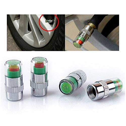 Lukzer Set of 4 Car Tire Pressure Monitor Valve Gauge Cap / 3 Color Eye Alert
