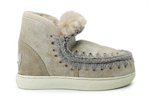 Mou Stivale alla Caviglia Bambina Platino Inchiostro Art.Mini Eskimo Sneaker Kid 29 Platino (STME)