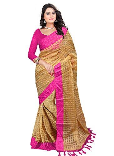 Saree (Devpriya Fashion Women Pink Cotton Silk Saree)
