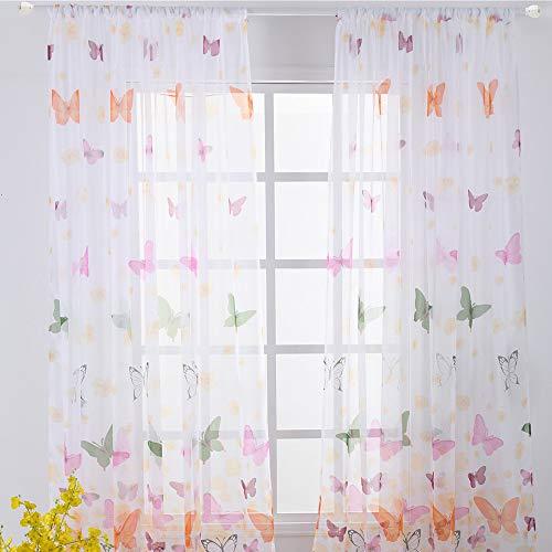 Litthing Cortina de Ventana de Mariposa y Flores Transparente con Ojales Cortina de poliéster Blanca Decoración de Dormitorio de ensueño 100×200 cm (Mariposa)