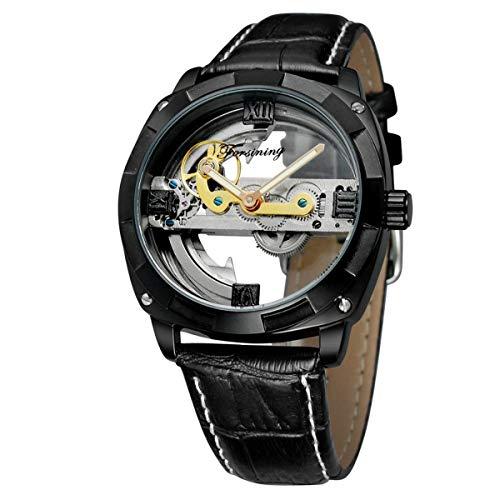 FORSINING Genuine Leather Mechanical Self Winding Skeleton Wristwatch for Men - Black