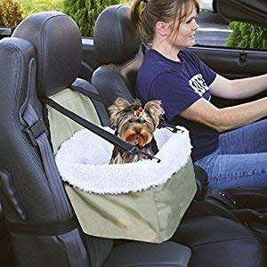 Soptool Pet Car Booster Seat Carrier, Portable Foldable Pet Car Seat Cover Carrier with Seat Belt for Dog Cat Puppy Kitty