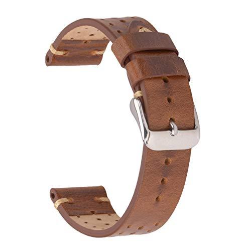 Cinturini per orologi in pelle 22mm, cinturini per orologi EACHE Racing Cinturini per orologi forati fatti a mano Retro Gold Brown