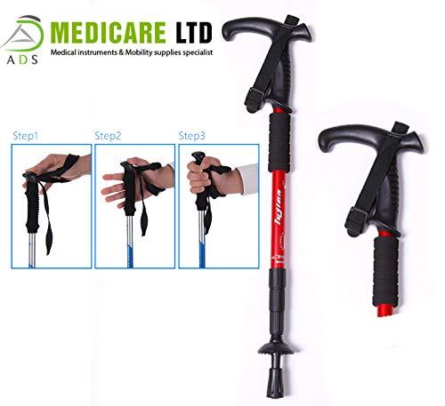 Bastón de senderismo flexible resistente a altas temperaturas, peso ligero, resistente al desgaste, color rojo