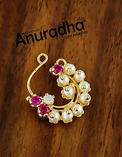 Anuradha Art Pink Colour Styled with Pearls Beads Traditional Marathi Besar Nath/Nose Pin for Women/Girls {Press On Besar Nath} 2