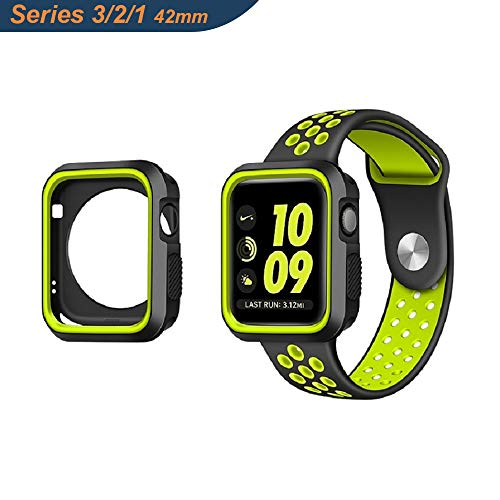 Adurei - Apple Watch 42mm Case Cover per Apple Watch Series 3 Series 2 Series 1, Ultra Protettivo Silicone Design, AntiGraffio Shock-Proof e Antiurto(Nero+Giallo)