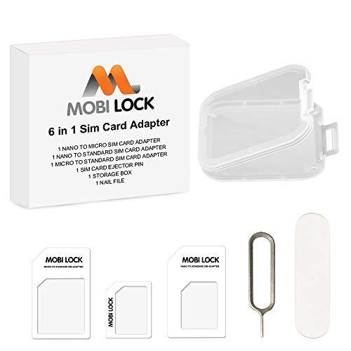 Mobi Lock Kit adaptador de tarjeta SIM 6 en 1 (Micro, Nano y estándar) con Lima de uñas y caja de almacenamiento para iPhone X, 8 y Todas las series de iPhone, Samsung, HTC y todos los demás smartphones Android