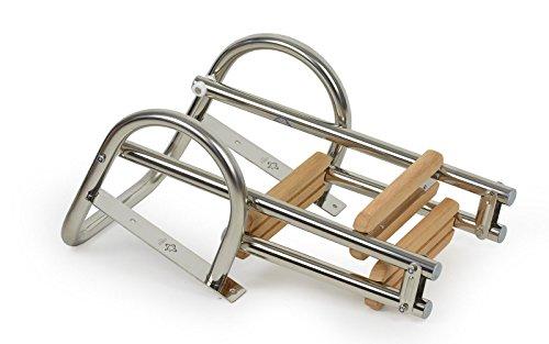 wellenshop Badeleiter Bootsleiter 3 Stufen Edelstahl/Holz klappbar mit Handlauf