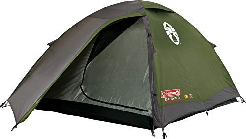 Coleman Darwin 3 Dome Tent Polyester 3 Man Camping Tent with Fibreglass Poles, 3000mm (Green)