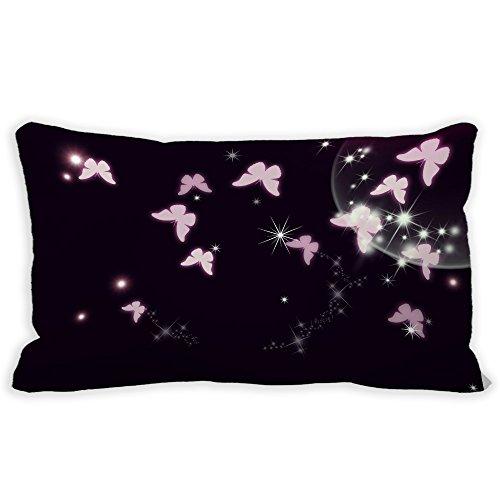 yohoba lona de algodón rectangular funda de almohada mariposa espacio negro lumbar almohada cubre Casos 12x 18pulgadas