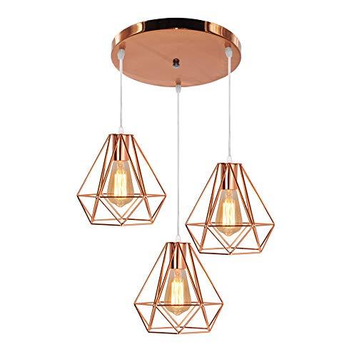 E27 Lampadario a Sospensione 3 luci Vintage Metallo in Diamante, Moderno Industriale Luce Pendente...