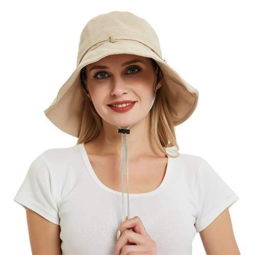 EINSKEY Sonnenhut Damen Baumwolle UV Schutz Fischerhut Faltbar Safari Bucket Hat mit Verstellbare Kinnband