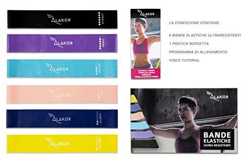 Kit 6 Bande Elastiche Resistenza Sport Fitness Donna Uomo Accessori Attrezzi Palestra per Casa...