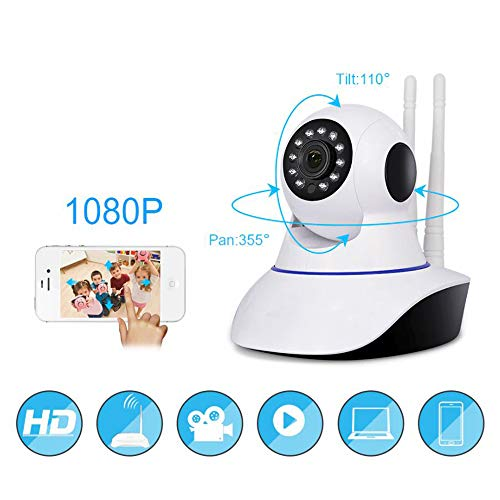 TELECAMERA IP DUE ANTENNE CAMERA HD 720P WIRELESS LED IR LAN MOTORIZZATA WIFI RETE INTERNET