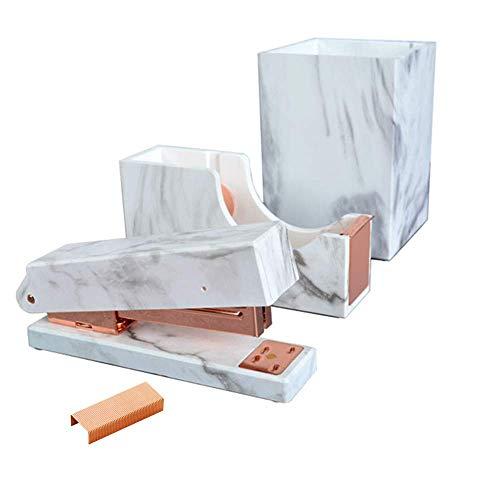 MultiBey, set di organizer da scrivania in oro rosa, cucitrice, nastro adesivo, portapenne, matite,...