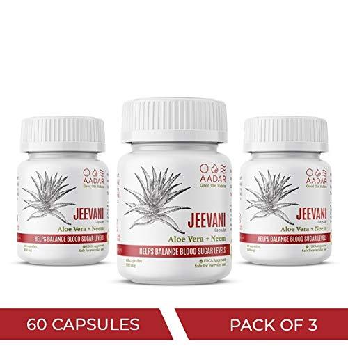 AADAR JEEVANI Diabetes Care Ayurvedic Neem and Aloe Vera Capsules - 60 Capsules (Pack of 3)
