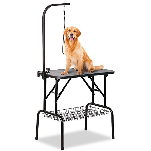 The Tinkertonk Adjustable Foldable Dog Grooming Table would not be a regrettable purchase. It has features that both domestic and professional groomers would want. This kind of table is foldable, can support heavy set pets and is very stable. Those with small dogs will have no issue with space. Those with medium sized pets will have to be clever with the space provided. We recommend this table for smaller sized pets. It can only serve one at a time unless you add an additional noose. It is not an expensive grooming table and therefore if it tickles your fancy buy it.