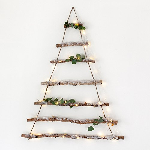 Lights4fun Decorazione ad Albero di Natale Fatta di Rami di Betulla e 50 luci Micro LED Bianco Caldo