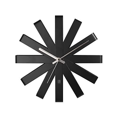 Umbra Ribbon Orologio da Parete Nero, Metallo, 30.48x30.48x5.21 cm 3 unità