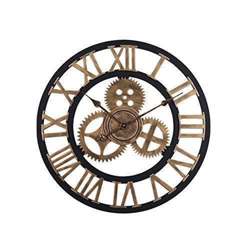 Orologio Vintage Europeo Retro Wheel Gear Home Decoration Luxury Art Orologio da Parete in Legno di...