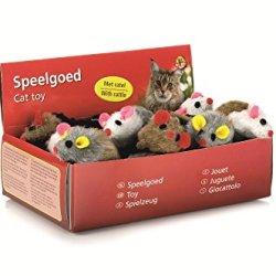 katzeninfo24.de BEEZTEES Katzenspielzeug: 24 x Plüschmaus mit Rassel 5cm #0440420