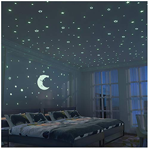 FRETOD Stelle Fluorescenti e Grande Luna (24cm) - 300 Pezzi Adesivi da Parete Fluorescenti per la...