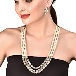 Touchstone Golden Alloy and Metal Jewellery Necklace Set for Women