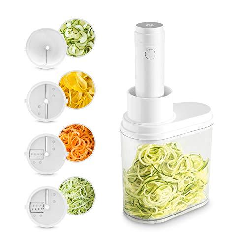 Elektrischer Spiralschneider 2.0 (100 W) inkl. 4 Schneideinsätzen aus Edelstahl für Obst- und Gemüsenudeln mit praktischem Auffangbehälter, für Spaghetti, Linguine oder Bandnudeln
