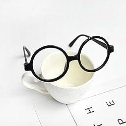 Vivianu - Gafas de Navidad para niños, diseño redondo, color negro o rojo negro